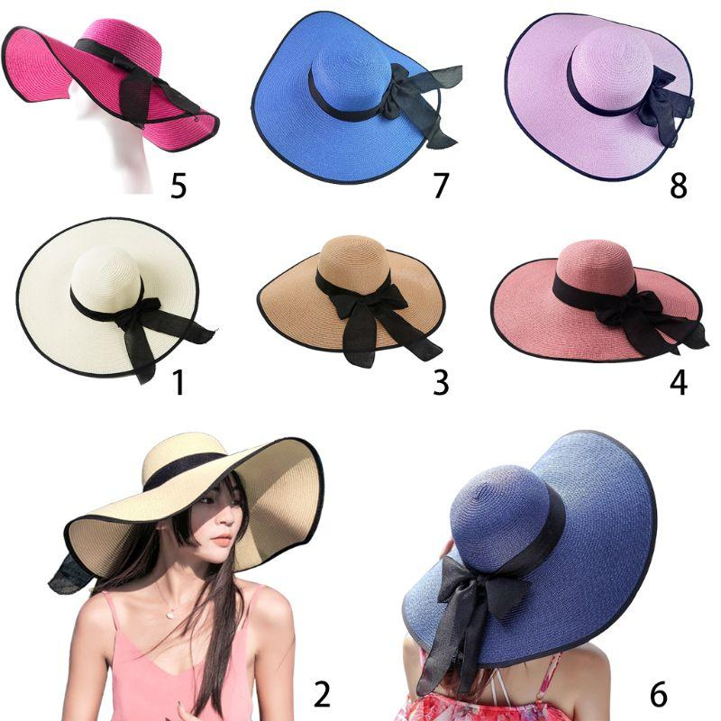 14a4a615 Women Beach Sun Hat Summer Straw Bowknot Cap Foldable Wide Brim Head Wear  Outdoor Head Protection From Sun Floppy Hats Black Floppy Hat From  Nicewatchnice, ...