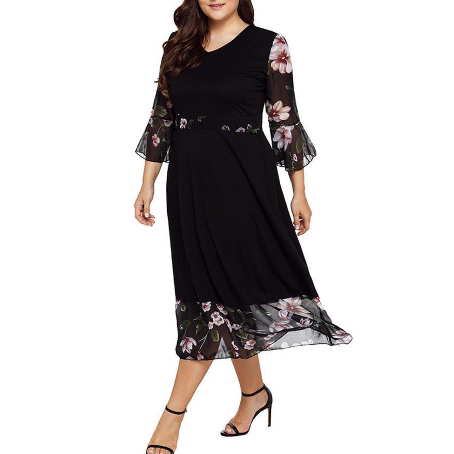 40f40bfd298 New Style Women Dresses V Neck Wrap Chiffon Floral Long Sleeve Plus Size 5  Xl Party Dresses Super Quality Ropa Mujer Shop Cocktail Dress Cocktail  Night ...