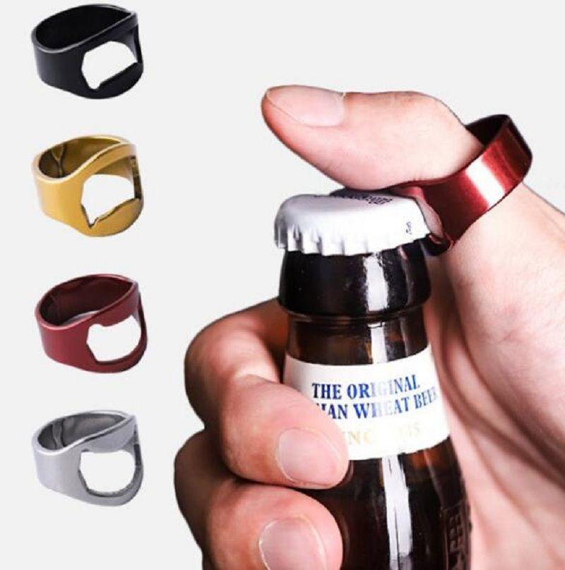 Edelstahl-Metallfinger Daumen RING Bier Flaschenöffner Bar Pub Werkzeug