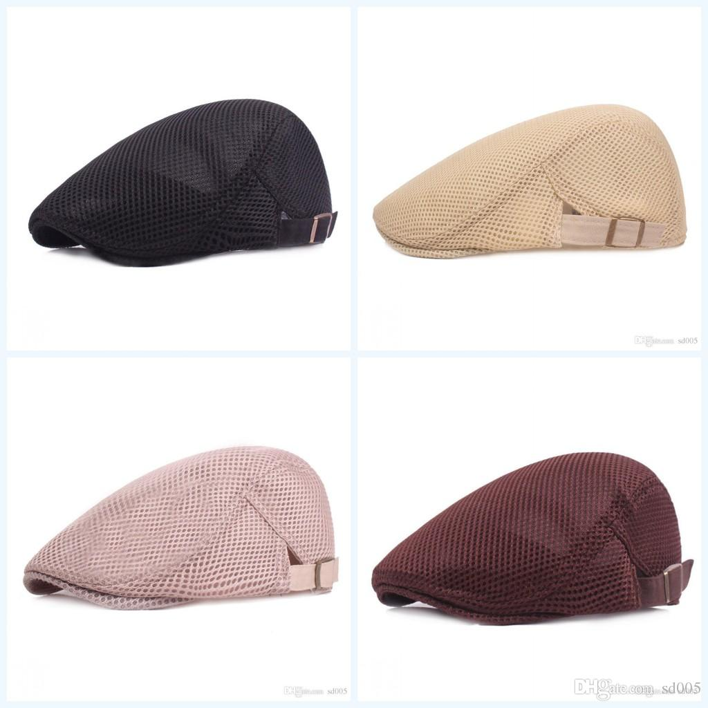 55ce7110 2019 Pure Color Ventilation Berets Spring Summer Fashion Sunscreen Silk  Screen Cap Men And Women Universal Portable Fold Caps 9 5xjI1 From Sd005,  ...