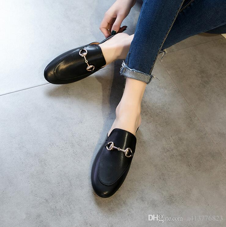 524a8b273 2019 Women Slippers Mules Flats Mule Shoes Fashion Genuine Leather Loafers  Shoes Metal Chain Ladies Casual Grey Boots Boots Shoes From A413776823, ...