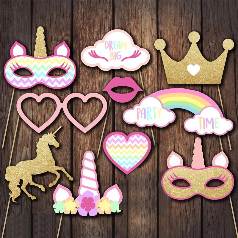 Decoración del partido / Unicorn Photo Booth Puntales del unicornio Primer bebé cumpleaños de los niños Photobooth Partido Puntales