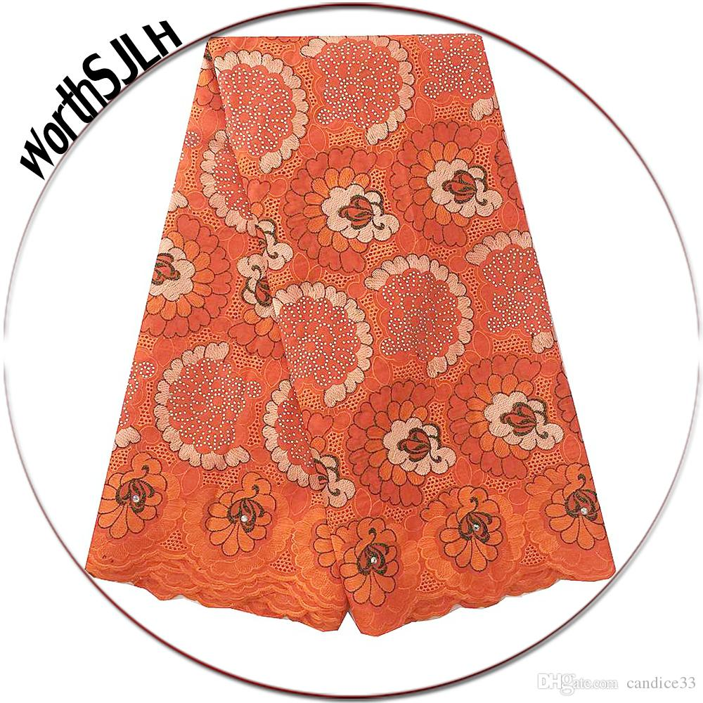 Aso Ebi Nigerian Lace Fabric 2018 High Quality Fushia Pink Orange Lace Fabric Latest African Swiss Cotton Voile Lace Materials