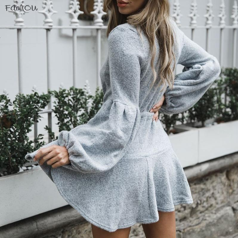 Women New V Neck Ruffle Knitted Sweater Dress Autumn Winter Lace Up Short Casual Long Sleeve Dress A-Line Solid Designer