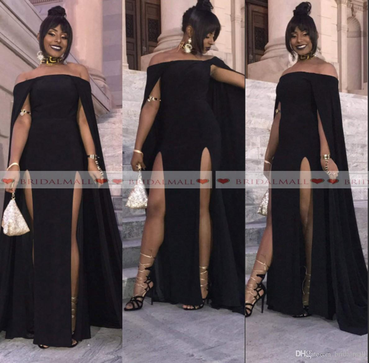 f24ce5750ceb New 2019 Off Shoulder Black Girls Evening Dresses With Cape High Side Split  African Formal Party Gowns Arabic Long Prom Dress Robe De Soirée Cheap  Evening ...