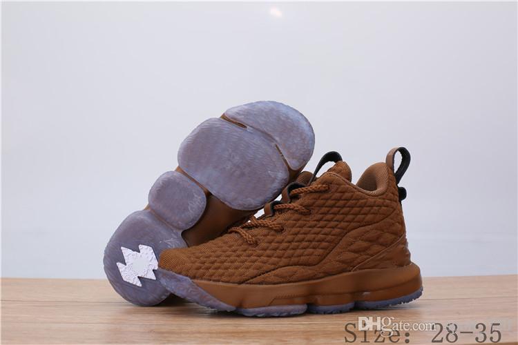 NIike Lebron XV EP 152019 nouveaux enfants Arrivée Haute Qualité XV 15 ÉGALITÉ Noir Blanc Casual chaussures de sport pour enfants15s EP Sports Sneakers Taille 28-35