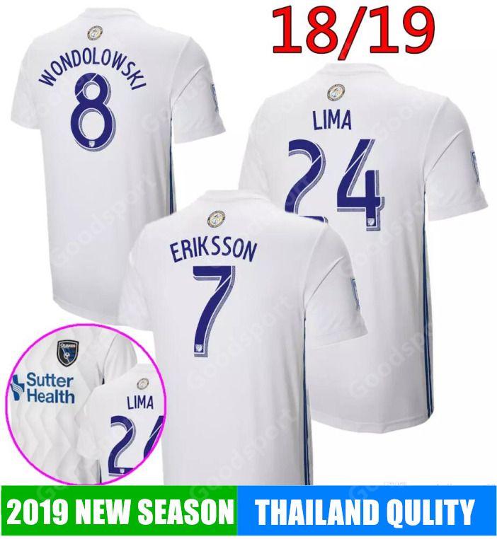 sports shoes b5d51 835bd 2019 MLS San Jose Earthquake Soccer jerseys 18 19 Home white Football  uniform #8 Wondowlowski #7 Eriksson #24 Lima 20 Godoy Shirts calcio