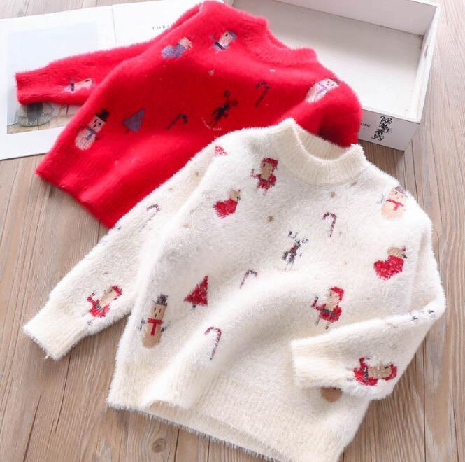 269758fbfa42 Christmas Sweaters Kids Clothing Girl Knitting Cartoon Jumper Pullover  Children Winter Fashion Warm Outwear baby clothes