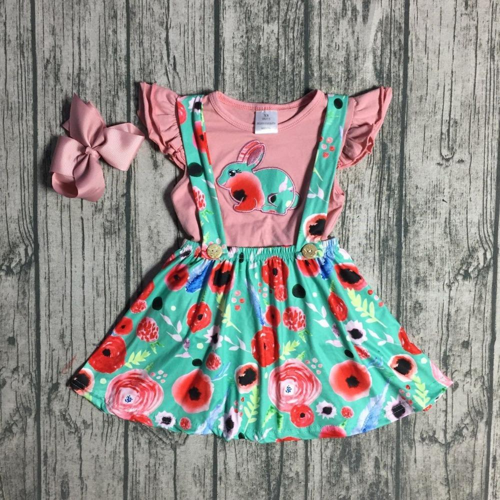 d1b4ae4a824c 2019 Easter Baby Girls Children Clothes SUSPENDER SKIRT SET Coral Green  Bunny Floral Ruffles Cotton Milk Silk Knee Length Match Bow From Bosiju, ...