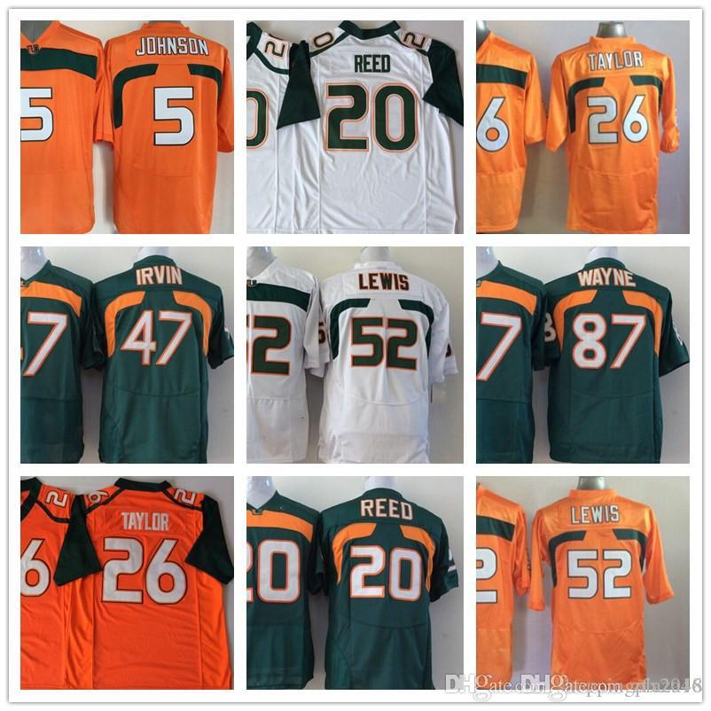competitive price 921c7 f0eb9 Miami Hurricane 5 Andre Johnson 20 Ed Reed 26 Sean Taylor 47 Michael Irivin  52 Ray NCAA College Football Jerseys Stitched logos