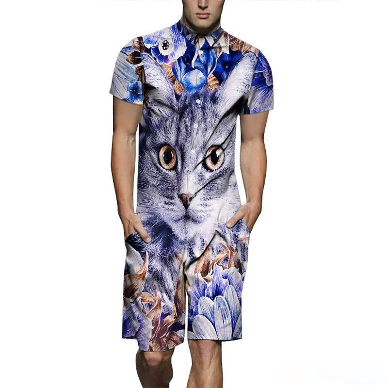 Mens 3D Cat abiti firmati One Piece Camicie Shorts 2pcs Set di abbigliamento Maniche corte Tops
