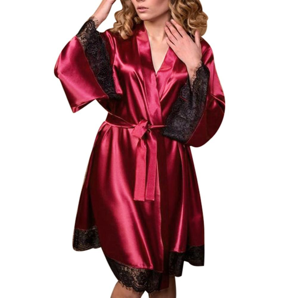 b814fe6b5ee Lace Plus Size Sexy Bath Kimono Robe Sleepwear Bridesmaid Lingerie Night Robes  Dressing Gown Bathrobe Satin Robe Szlafrok Robes Cheap Robes Lace Plus Size  ...