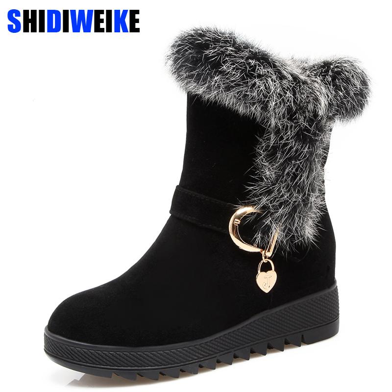 016a7b5bbf020 2019 Winter 2018 Fur Natural Rabbit Hair Snow Boots Woman Warm Flat Mid  Suede Leather Short Boots For Women m965
