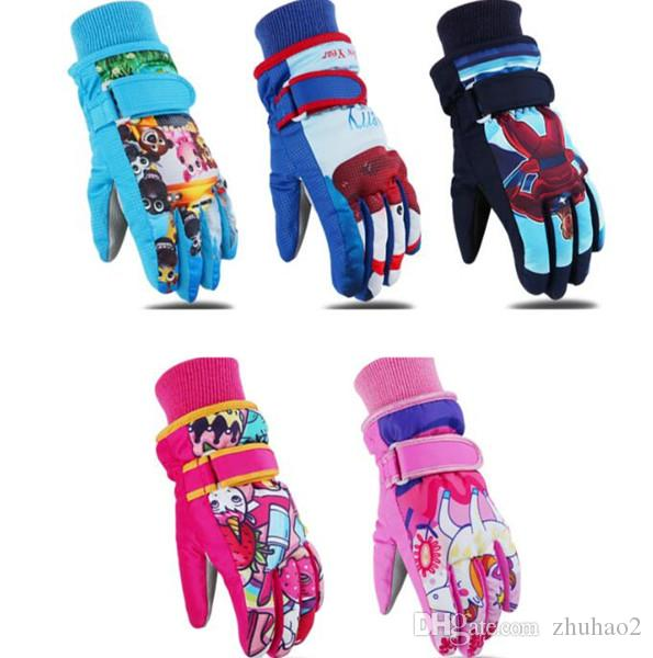 New Children's Skiing Gloves Winter Outdoor Sports Gloves Windbreak Warm Size Kids Cotton Cartoon Gloves Thickened For 3-12 years old #ST17