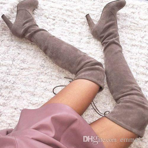 1a7a51e98f4 Women Stretch Faux Suede Slim Thigh High Boots Sexy Fashion Over The Knee  Boots High Heels Woman Shoes Black Gray Winered Cowgirl Boots Wide Calf  Boots From ...