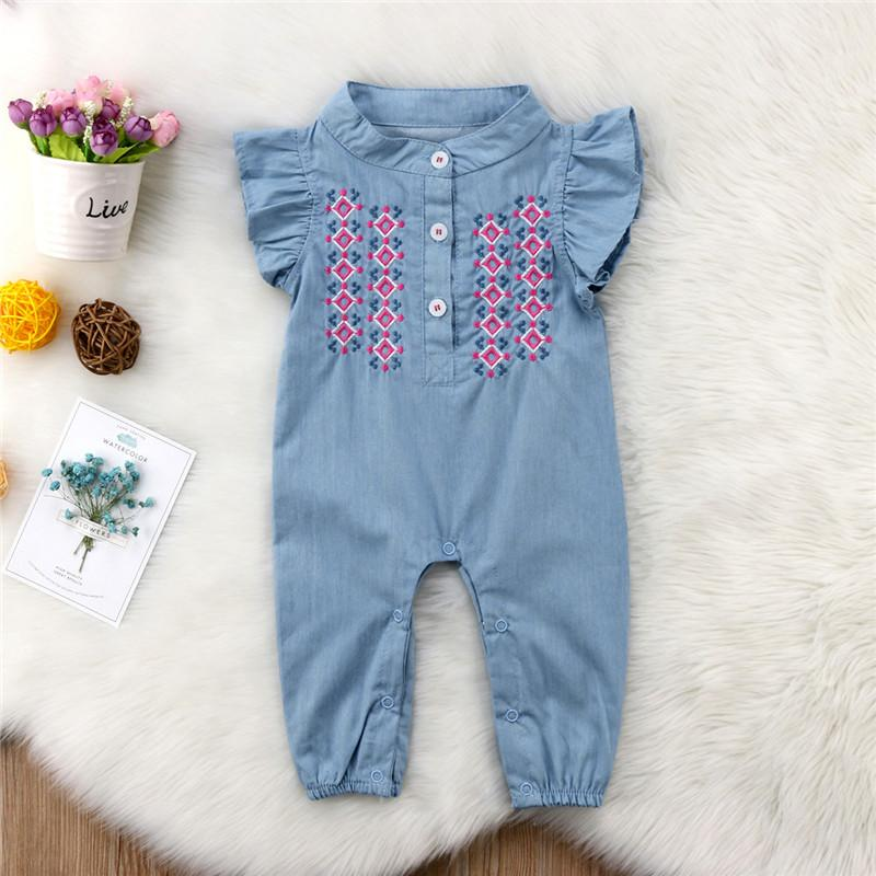 5a4f9b33ccb7a 2019 0 24M Newborn Baby Girl Embroidery Romper Fly Sleeve Denim Clothes  Cute Bebes Summer Outfit Sunsuit Jumpsut From H6241163, $5.44 | DHgate.Com