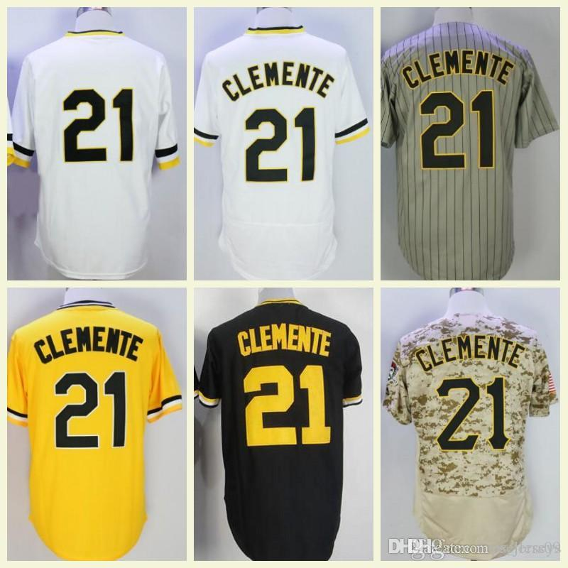 brand new 7fac9 8700d Retro Baseball Jersey 21 Roberto Clemente Jersey Yellow Black White Vintage  Pullover Button 100% Stitched