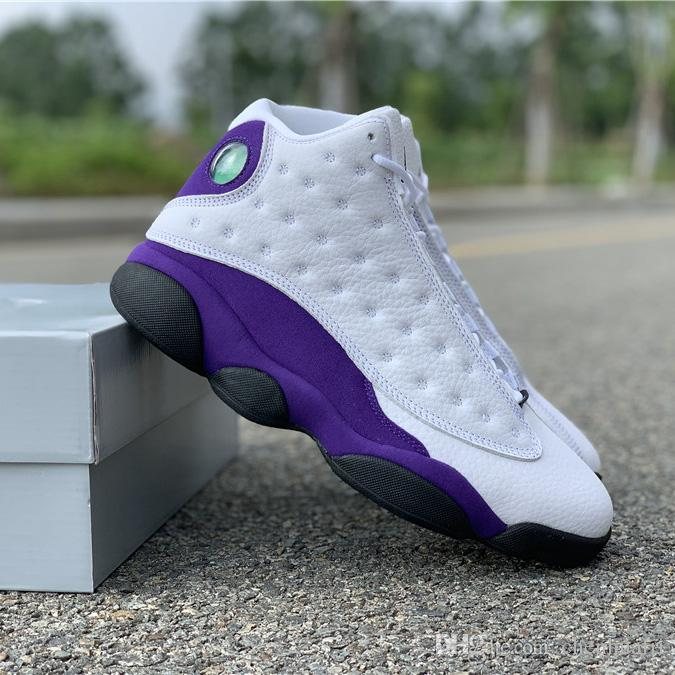 low priced 366ef 038a8 New 13s Lakers Rivals White Purple Mens Basketball Shoe Flint Atmosphere  Grey Cap And Gown Sports Sneakers Size40.5-47