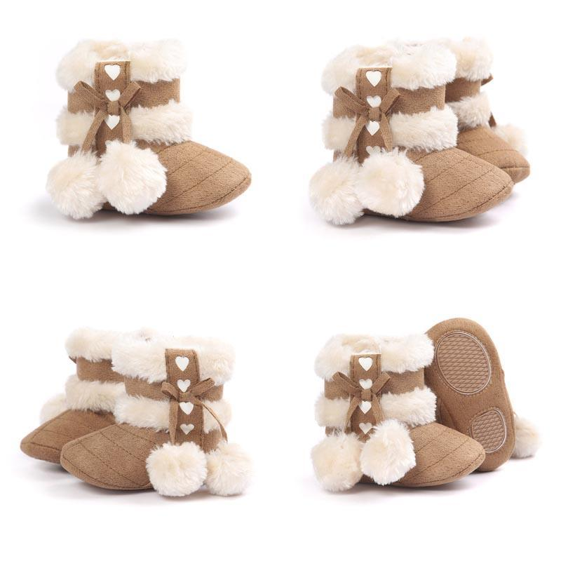 New Arrival Winter Baby Boots Thicken Wool Cute Fur Ball Bowknot Infant Walking Shoes Soft Sole Hook & Loop Anti-slip