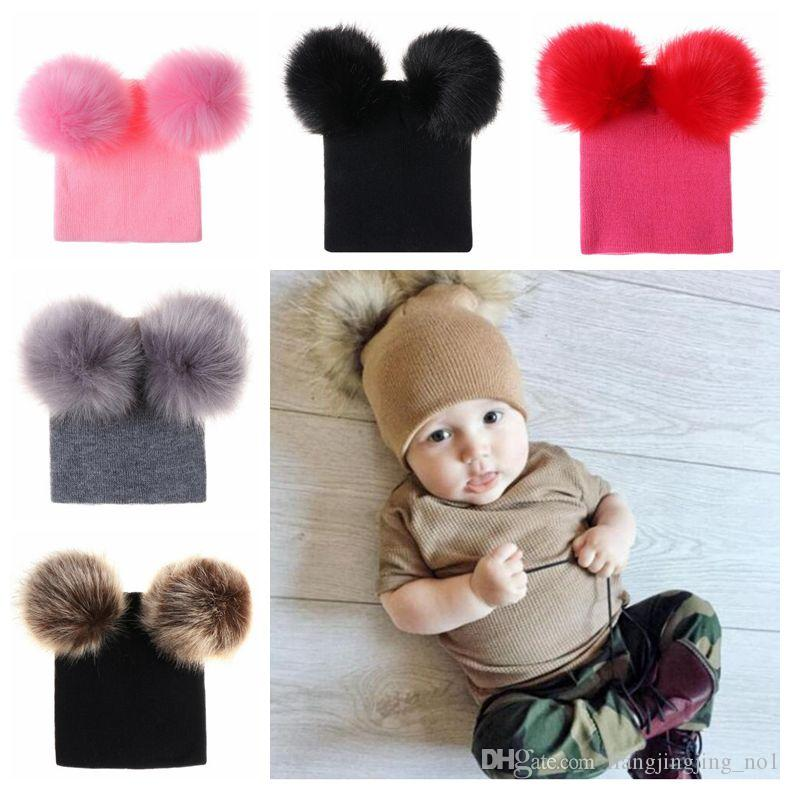 INS Kids Double Fur Ball Beanies Knitted Hats Baby Fur Pom Ski Cap Beanies  Winter PomPom Caps Party Hats CCA10881 Party Hat Cut Out Party Hat Design  From ... 70e556bc983