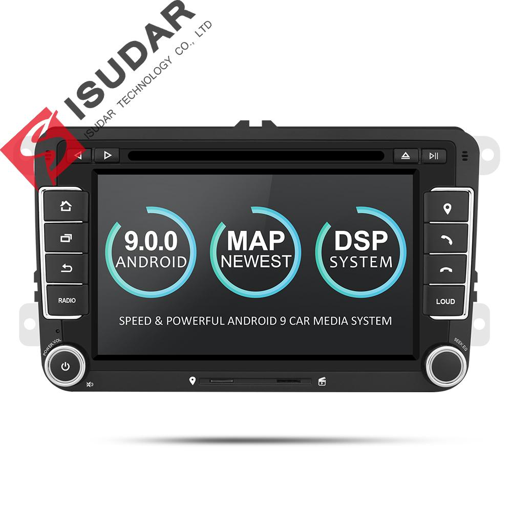 Isudar Car Multimedia Player Android 9 GPS 2 Din para VW / Golf / Tiguan / Skoda / Fabia / Rapid / Seat / Leon Canbus Automotivo DVD Radio DSP
