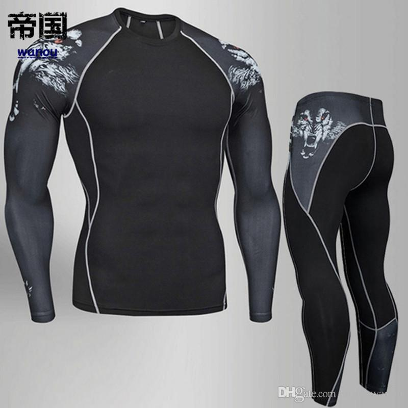 NEW Man Compression Tights Leggings Men's Sports Suit Jogging Suits Gym Training T-shirt MMA Rash Guard Male Compression Cothing 4XL
