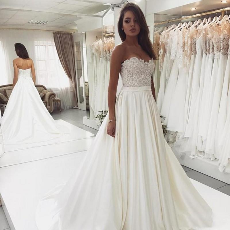 Bridal Dresses 2019: New Sweetheart Wedding Dresses 2019 With Elegant Applique