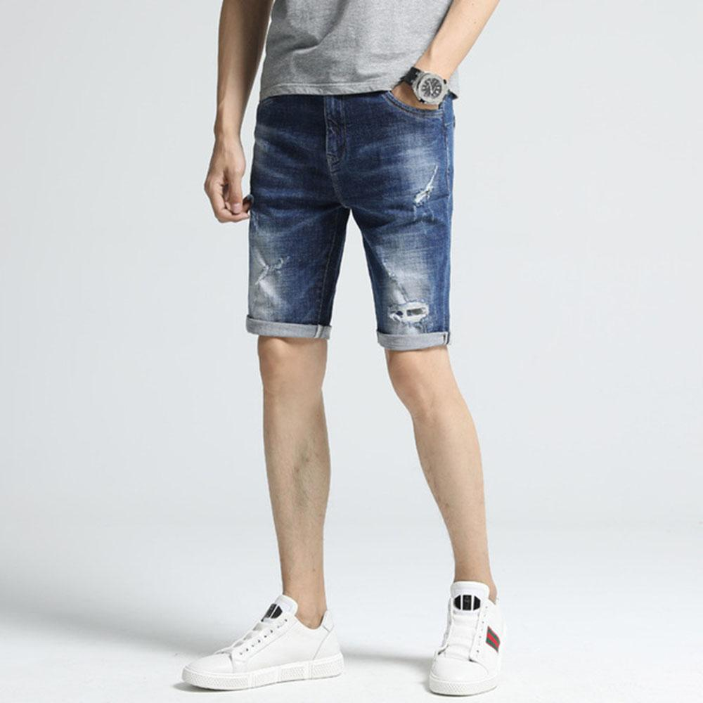 38bbbfa1845 AudWhale Summer Men's Jeans Shorts With Hole Mid Waist Ripped Men Denim  Shorts Knee Length Straight Male Jeans