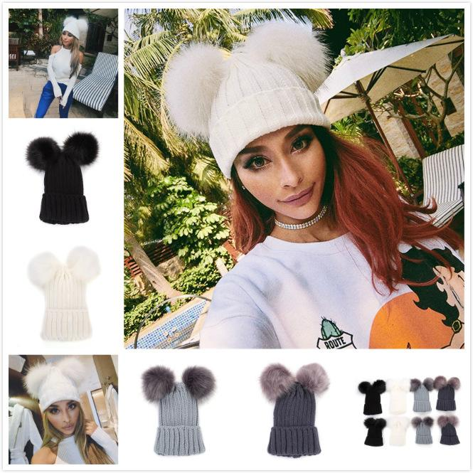Double Fur Ball Beanie Parent Child Knit Crochet Fur Pom Ski Cap Winter  Warm Pom Pom Hat Party Hats OOA6010 Beanie Hat Sun Hats From  Good sunglasses 59d442a5074