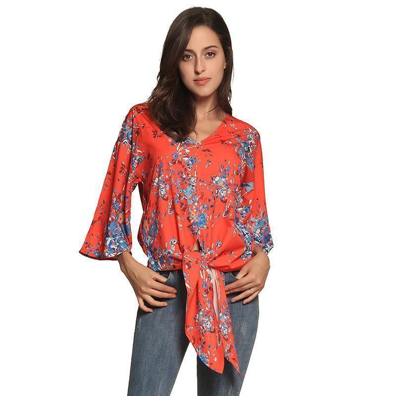 a3662fd0a7f Summer Sexy V Neck Chiffon Blouse Shirt Boho Print Fashion Women ...