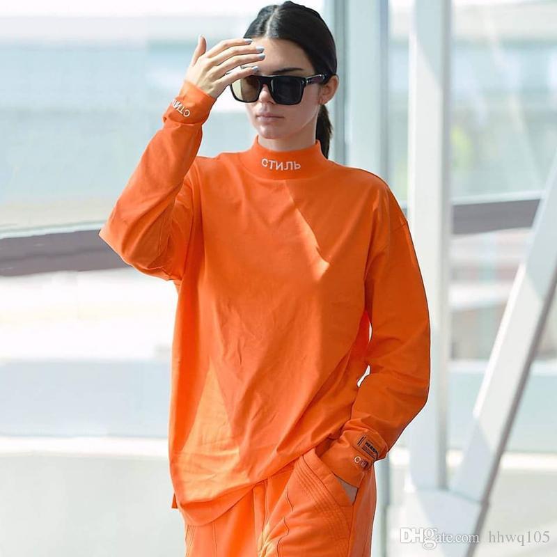 53449e4e69419 HERON PRESTON High Neck T Shirt Embroidered Style Long Sleeve Cotton Shirt  Men Women Hip Hop Streetwear Tees Orange Black White YCI0207 Tee Shirt A  Day Shop ...