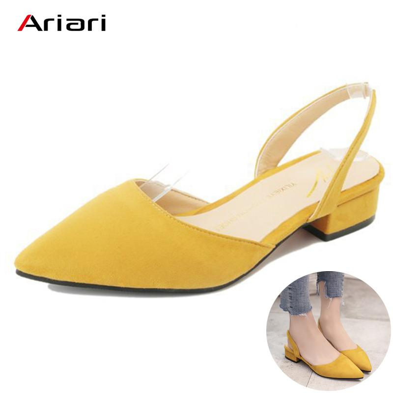 f59510da8fe5 Ariari 2019 Spring Women Low Heel Flock Sandals Korean Style Summer  Slingbacks Shoes For Women Sweet Dress Shoes Lady Pumps Summer Shoes Womens  Loafers From ...