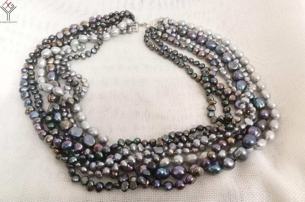 9814a84c228ad Women fashion Jewelry 7 strands natural pearl necklace 6-14mm black gray  colors baroque freshwater cultured pearl