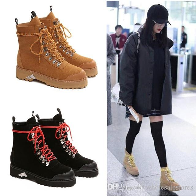 1d08253ba97 Fashion Cow Suede Winter Ankle Boots Women Lace Up Thick Heel Platform  Boots Ladies Worker Boots Black Big Size 42 Western Shoes Military Boots  Walking ...