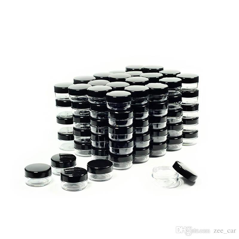 9c9f3eecc26b 3 5 10 15 20 Gram Cosmetic Containers Sample Jars with Black Lids Plastic  Makeup Sample Containers BPA free Pot Jars