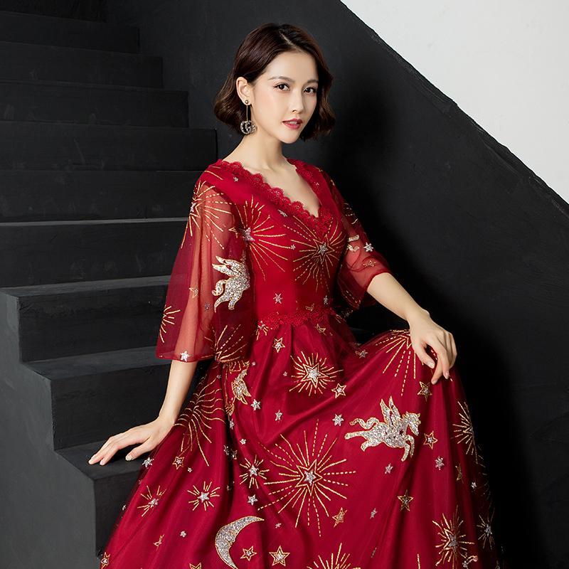 8ea3e4ba75cb Exquisite Red Bridesmaid Bride Wedding Dress Full Length Slim Lace ...