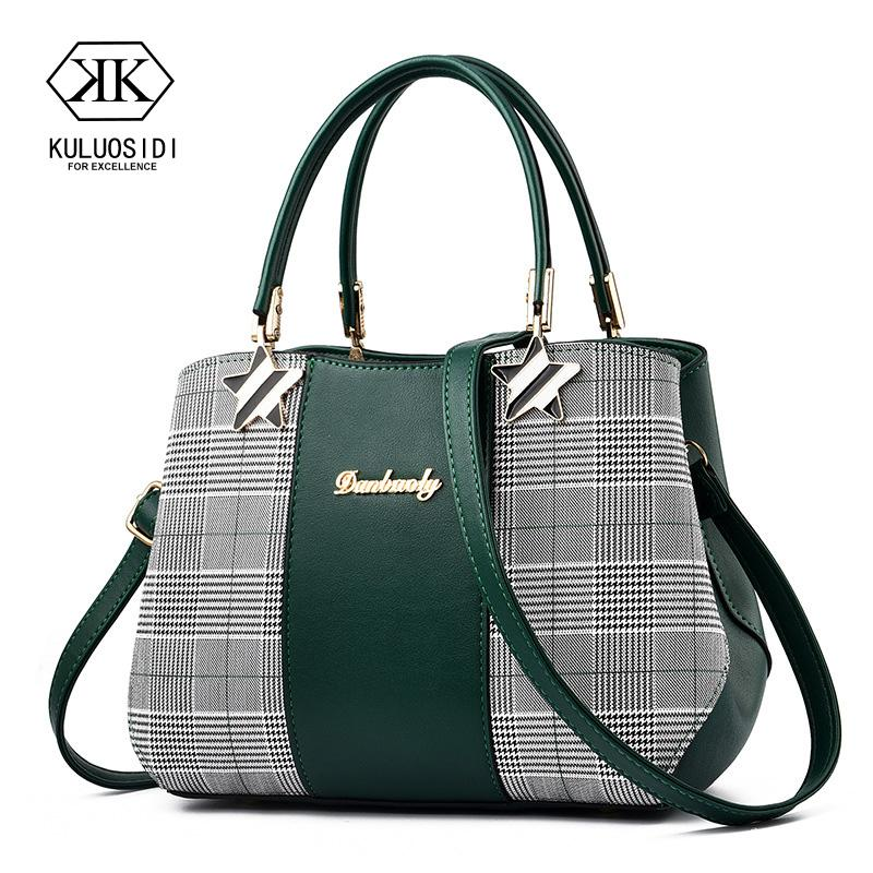 Fashion Patchwork Plaid Bag Women Leather Handbag Crossbody Bag for Women 2018 Sac a Main Star Hand Bags