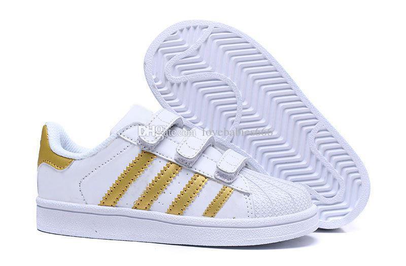 7b92b1daa5 Compre Adidas Superstar Marca Crianças Superstar Sapatos Originais De Ouro  Branco Do Bebê Crianças Superstars Tênis Originais Super Star Meninas  Meninos ...