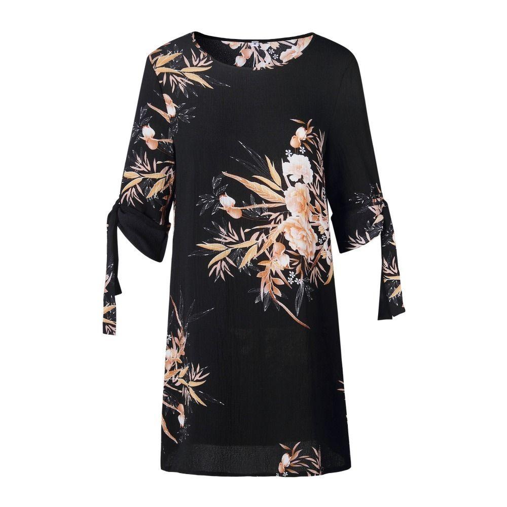 67cda194a Compre 5xl Tallas Grandes Vestido Mujer Vestido De Verano Vestido De  Oficina Vestido De Oficina Gasa Azul Perla Floral Impreso Casual Vestidos  De Playa ...