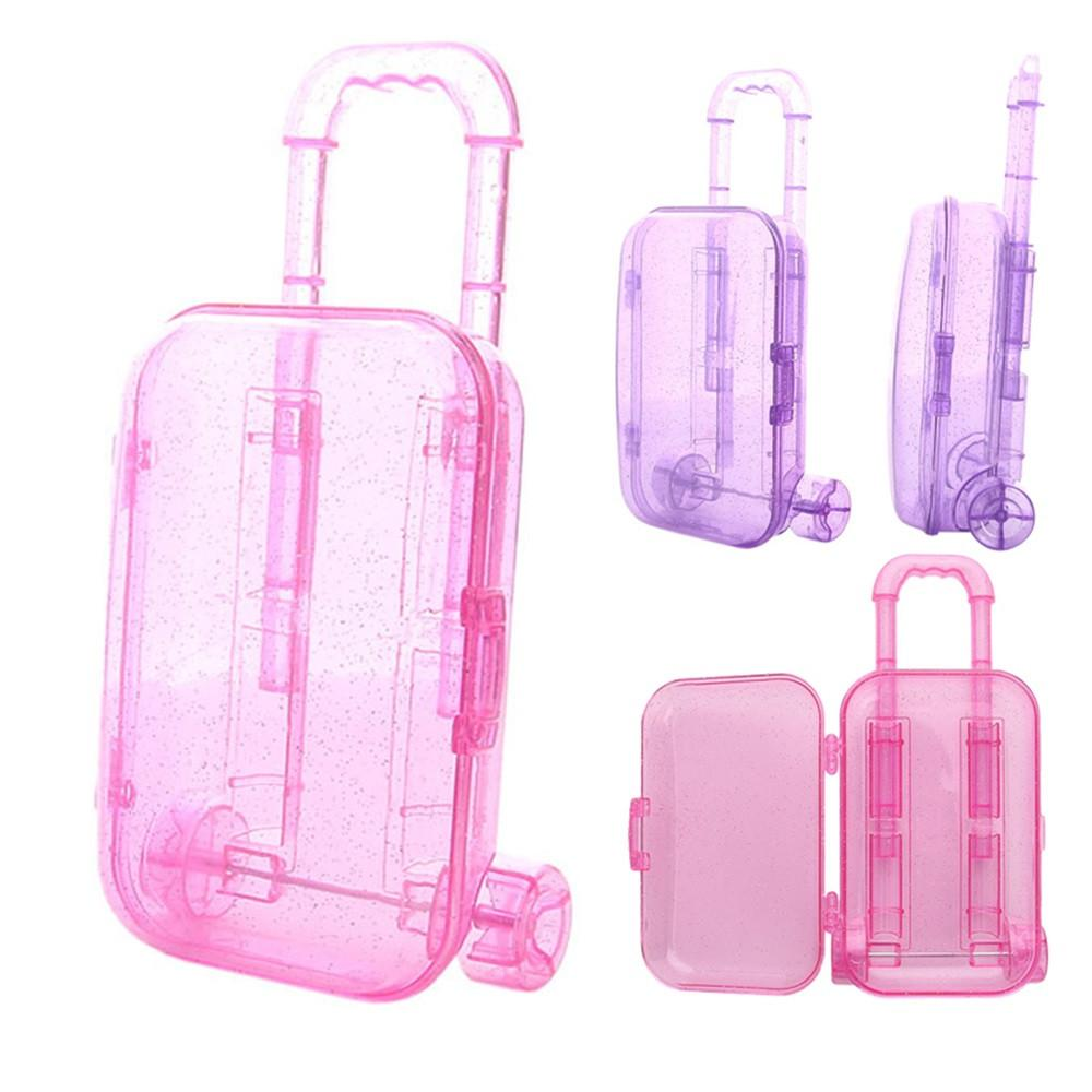 30PCS Fashion Unisex Mini Trunk Nylon Luggage Box Clear Travel Suitcase for High Quality 18 Inch Girl Doll Kids Toy Birthday Gift
