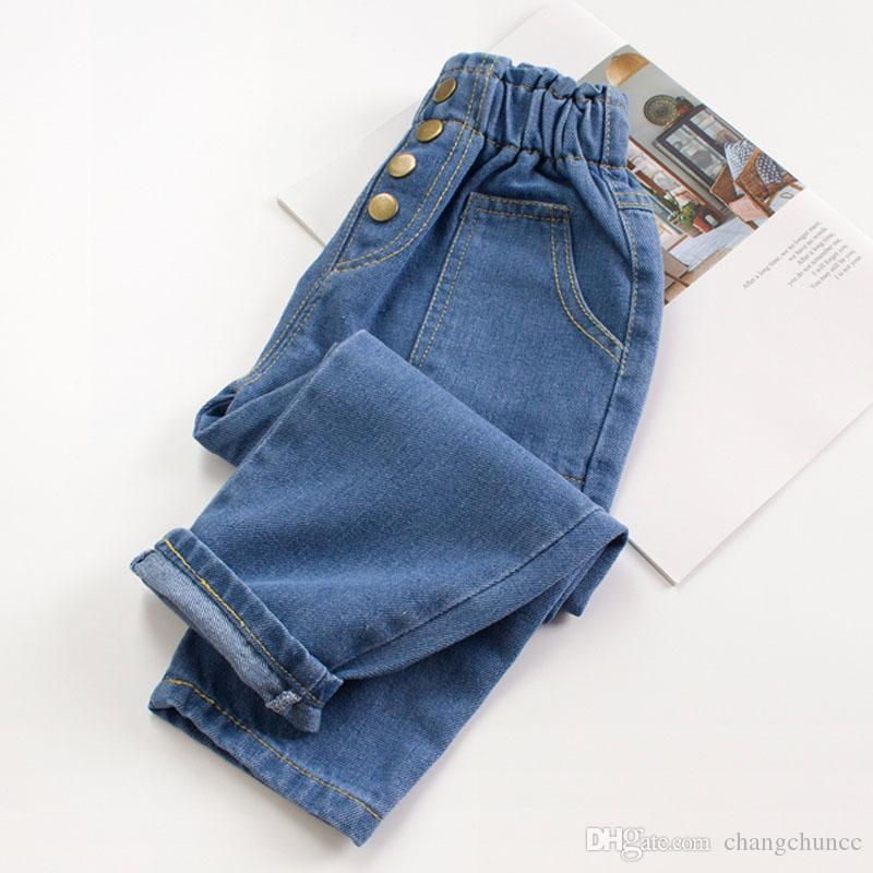 Children Girls Jeans Pants 2019 Spring Autumn Denim Flower Elastic Waist Pants For Kids 2-9Years Jeans Baby Girl Clothes