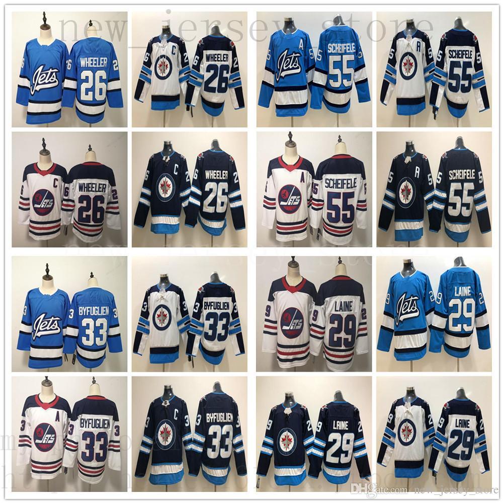 b6aba6aa86f 2019 New Light Blue Winnipeg Jets Ice Hockey Jersey Navy White 29 Patrik  Laine 26 Blake Wheeler 33 Dustin Byfuglien 55 Mark Scheifele Patrik Laine  Jersey ...