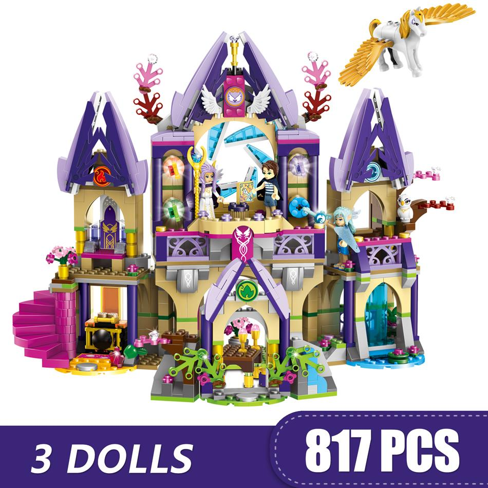 817PCS Small Building Blocks Toys Compatible with Legoe Skylar's Mysterious Sky Castle Gift for girls boys children DIY