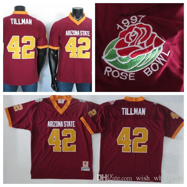 College Football Jersey ricamati Pat Tillman 42 Jersey 2019 NCAA Arizona State Sun Devils maglie Rosso
