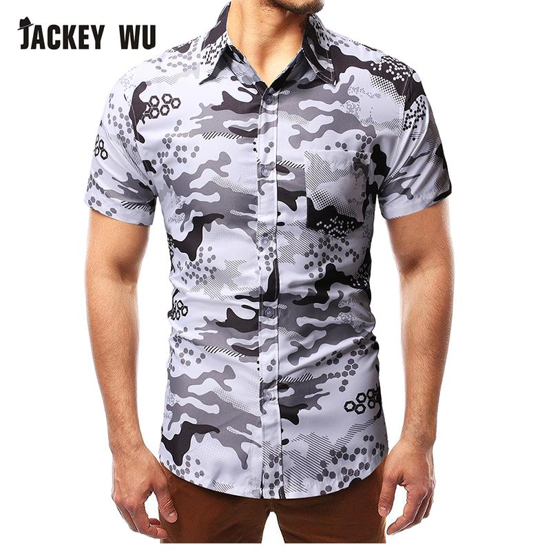 876547a3 JACKEYWU Hawaiian Shirt Men 2019 Summer Fashion Camouflage Short Sleeve  Casual Beach Shirts Breathable Camisas Men's Clothing