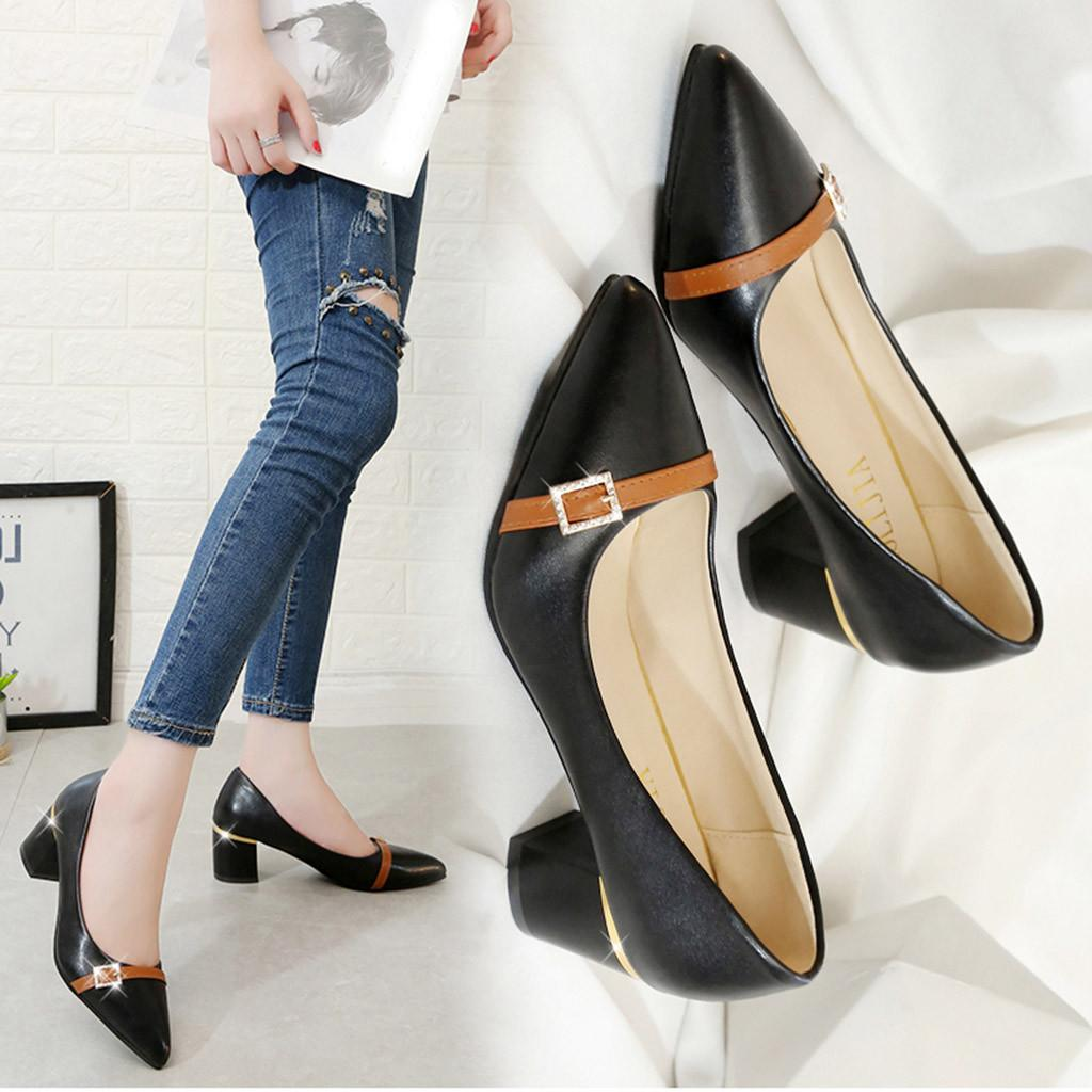 082777b948c51 Dress Shoes 2019 Women Ladies Fashion Square Pointed Toe Heel Loafers  Single Casual Heel Slippers Woman # 91 Navy Shoes Driving Shoes From  Deals111, ...