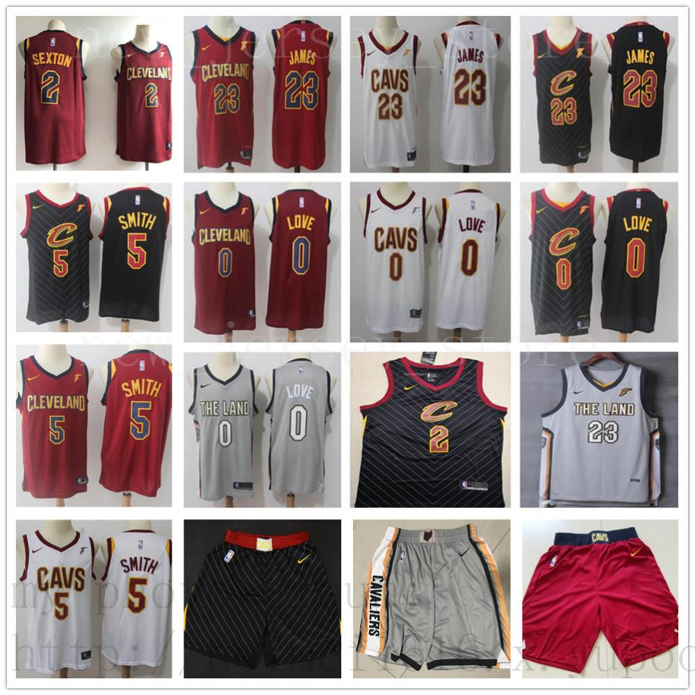 7134c978ca2 2019 Cleveland 0 Kevin 2 Collin Love Sexton Jerseys Red Black White Blue  Grey 5 JR Cavaliers 23 LeBron Smith James Basketball Jersey Short From ...