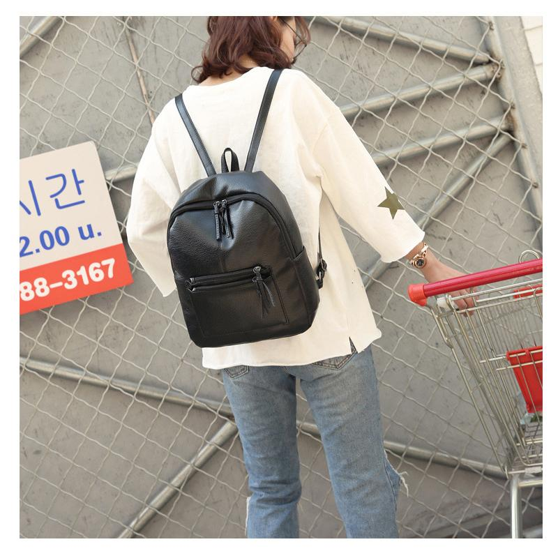 1a28e11f80 Pu Leather Backpack Women Fashion Backpacks Black New Korean Travel Bags  For Women, College Student Soft School Woman Bag