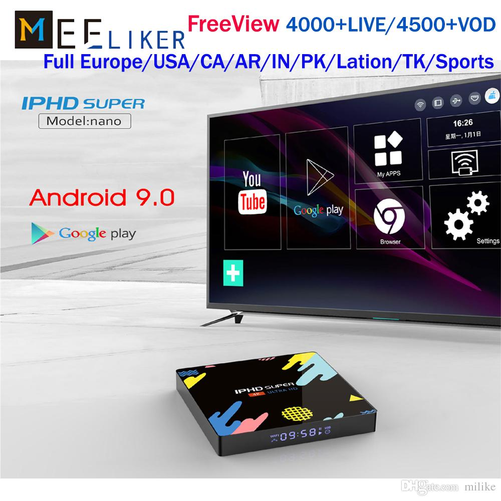 New IPHD NANO android 9 0 tv box 1year free France IPTV Subscription For  Europe USA Canada Arabic Italy Germany 2G 16G 4G ram 32/64G