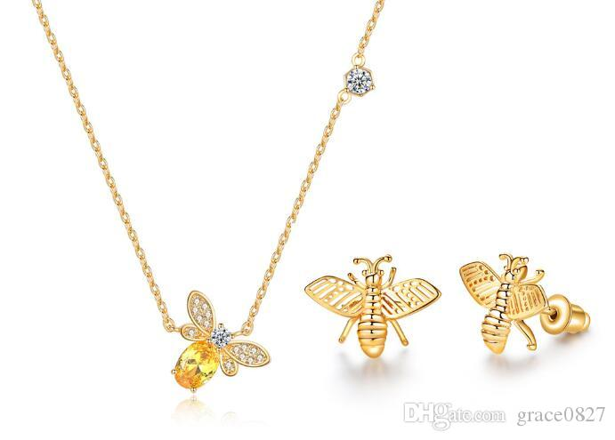 bee crystal Pendant Necklace and earring Jewelry Sets rhinestone Zircon earstud and collar for Wedding Jewelry best gifts